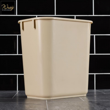 Rectangular Plastic Waste Basket Beige