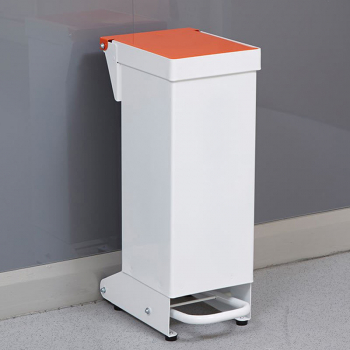 18L Fire Retardant Pedal Bin Enclosed with Orange Lid