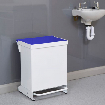 36L Fire Retardant Pedal Bin Enclosed with Blue Lid