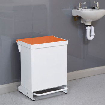 36L Fire Retardant Pedal Bin Enclosed with Orange Lid