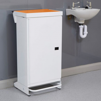 65L Fire Retardant Pedal Bin Enclosed with Orange Lid