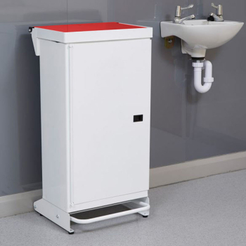 65L Fire Retardant Pedal Bin Enclosed with Red Lid