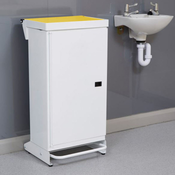 65L Fire Retardant Pedal Bin Enclosed with Yellow Lid