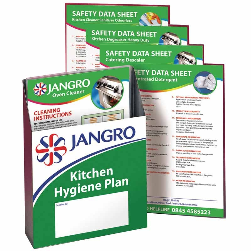 Jangro Laminated Instruction Sheets for Kitchen Hygiene Plan