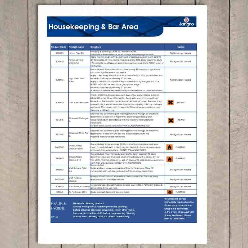 Housekeeping Cleaning Schedule Wall Chart