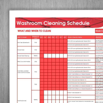 Washroom Cleaning Schedule Wall Chart